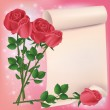 Greeting or invitation card with red roses — Stock vektor