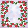 Greeting or invitation card with ornament of red roses - Grafika wektorowa