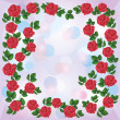 Greeting or invitation card with ornament of red roses - Векторная иллюстрация