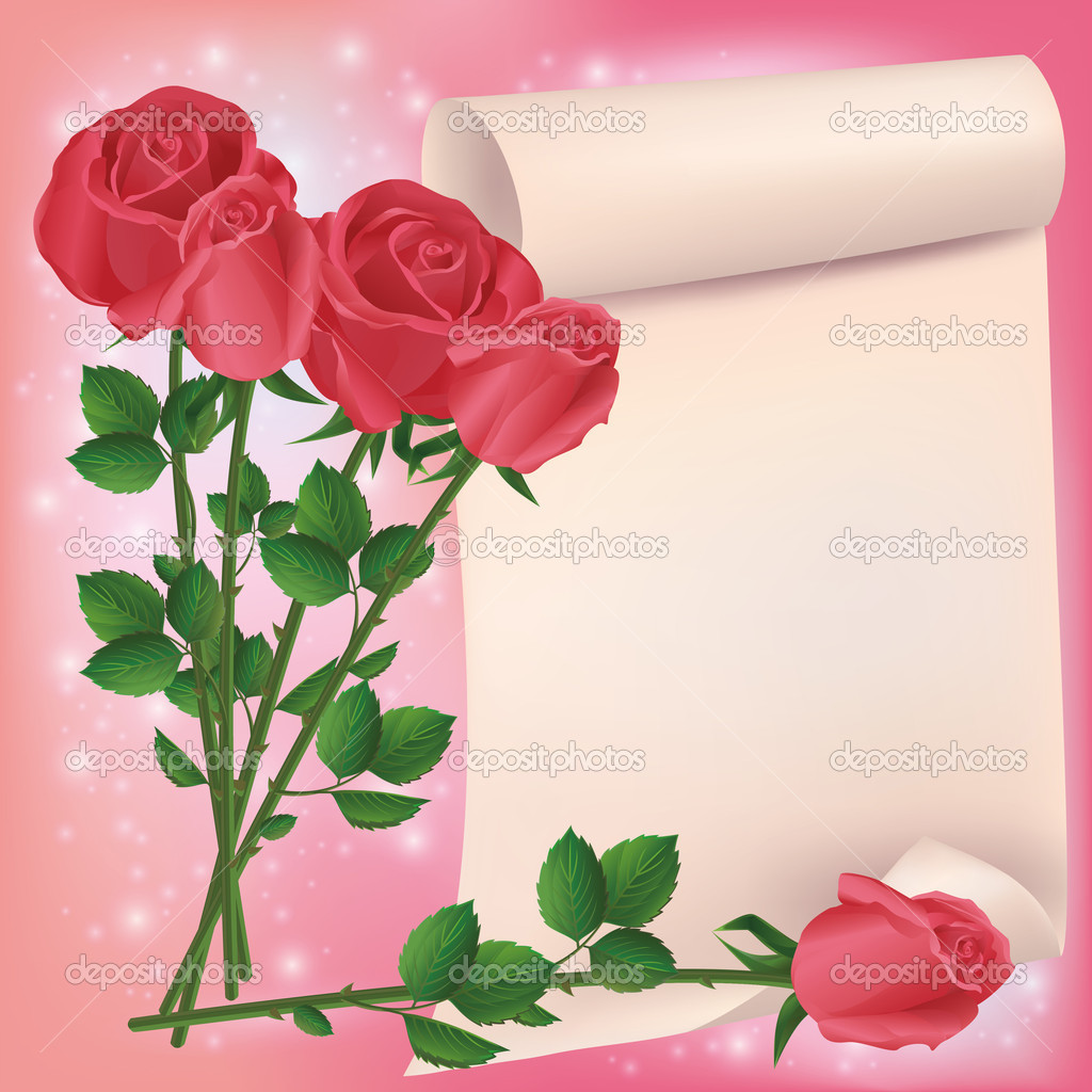 Greeting or invitation card with bouquet of red roses and sheet of paper- place for text. Vector illustration — Stock Vector #9787516