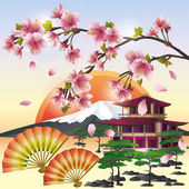 Japanese background with sakura - Japanese cherry tree — Stock Vector