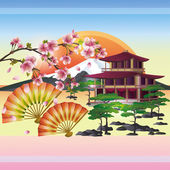 Japanese background with sakura - Japanese cherry tree, vector — Stock Vector