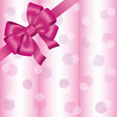 Light pink background with ribbon and bow — Stock Vector