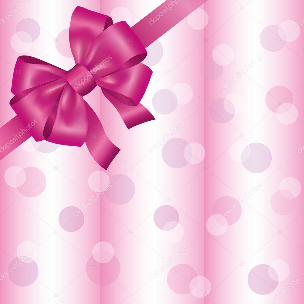 Greeting or invitation card with ribbon and bow, light pink background. Vector illustration  Stock Vector #9979574