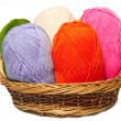 Royalty-Free Stock Photo: Isolated colorful acrylic fibers in the basket on white