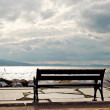 Empty stool coast of the cloudy sea — Stock Photo