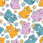 Amusing kitten seamless pattern — Stock Vector