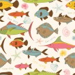 Motley fishes seamless pattern — Imagen vectorial