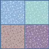 Collection of floral seamless patterns — Stock Vector