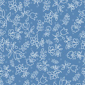 Floral seamless pattern in blue tones — Stock Vector