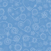 Floral seamless pattern with hearts — Stock Vector