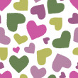 Seamless pattern with multicoloured hearts — Stock Vector