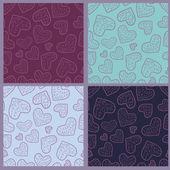 Kolekce bezešvé vzory se srdíčky — Stock vektor