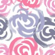 Stock Vector: Hand painted roses seamless pattern