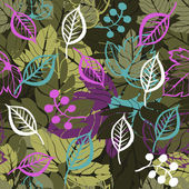 Forest leaves seamless pattern — Stock Vector