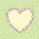 ロマンチックな花の心 - 形フレーム — ストックベクタ