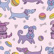 Funny dogs seamless pattern — Stock Vector