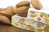 Nougat with almonds — Stock Photo
