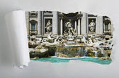 Torn Paper with Trevi fountain — Stock Photo