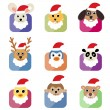 Cute animal head with santa hat — Stock Vector