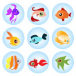 Vector de stock : Cartoon fish set