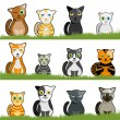 Stock Vector: Cartoon cat set