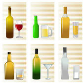 Alcohol bottle and glass — Stock Vector