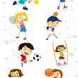 Stock Vector: Cartoon sport kids