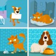 Cat and dogs cartoon set — Stock Vector