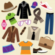 Stock Vector: Fashion clothes and accessories