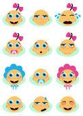 Baby face set — Stock Vector