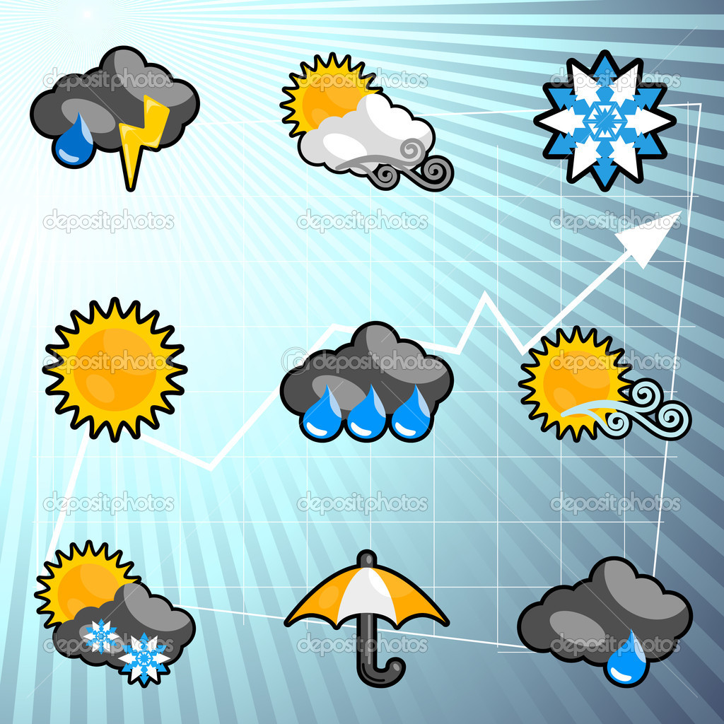 Weather icons set — Stock Vector #8310850