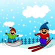 Stock Vector: Cartoon kids skiing