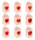 Liefde decoratie boodschappentas — Stockvector