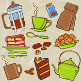 Drink and food icons — Stock Vector