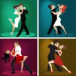 Stock Vector: Romantic couple dance