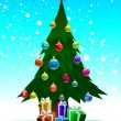 Christmas tree with gifts — Imagen vectorial