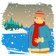 Stock Vector: Winter man
