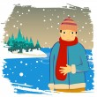 Winter man — Stock Vector