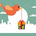 Bird with gift box — Stock Vector