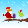 Stock Vector: Christmas bird