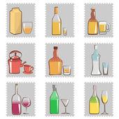 Copo e garrafa de álcool — Vetor de Stock
