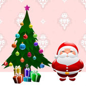 Christmas tree and santa claus — Vector de stock