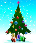 Christmas tree with gifts — Vecteur