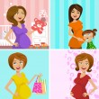 Pregnant mother - Stock Vector