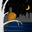 Bird with night city — Stock Vector