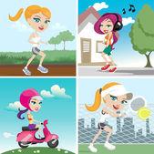 Action girl design set — Stock Vector