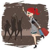 Shopping woman running — Stock Vector