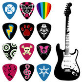 Pick and guitar icon set — Stock Vector