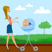Matka a dítě — Stock vektor
